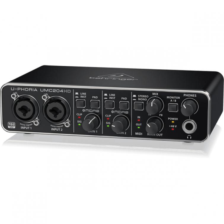 Аудио интерфейс BEHRINGER UMC204HD U-Phoria USB с 2 входа и 4 изхода