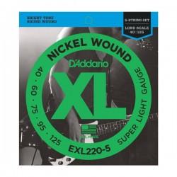Струни за бас китара D`ADDARIO EXL220 5 5STR BASS XL 40 125