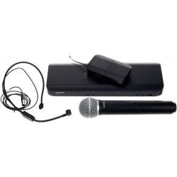 Безжичен микрофон BLX1288E/P31 с дръжка PG58 и дидаема headset PGA31 комбиниран by SHURE