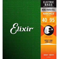 Струни за бас китара ELIXIR 14002 Nanoweb Coated 4 String Bass Strings Super Light Long 40-95
