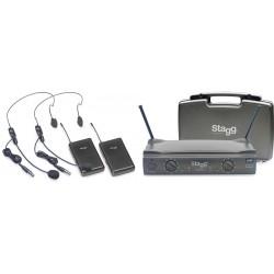 Двоен безжичен микрофон за глава SUW50 HH UHF 864.2-864.7 хедсет / тип диадема
