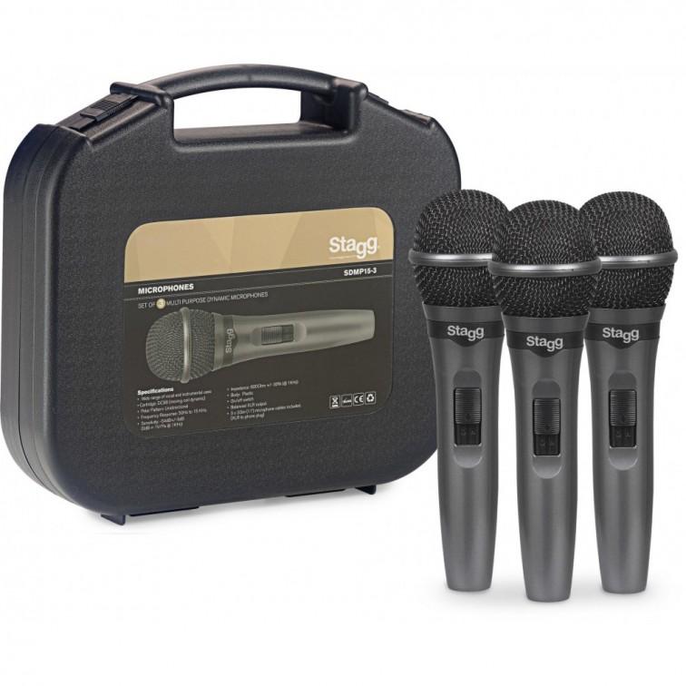 Вокални микрофони SDMP15-3 с кабели + куфарче