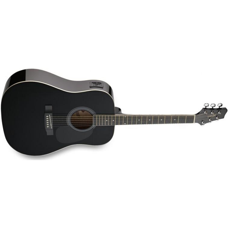 Черна китара STAGG – Електро-акустична SW201BK-VT