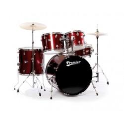 Акустични барабани Premier STAGE 20 WR S WINE RED комплект с хардуер, столче, чинели и палки